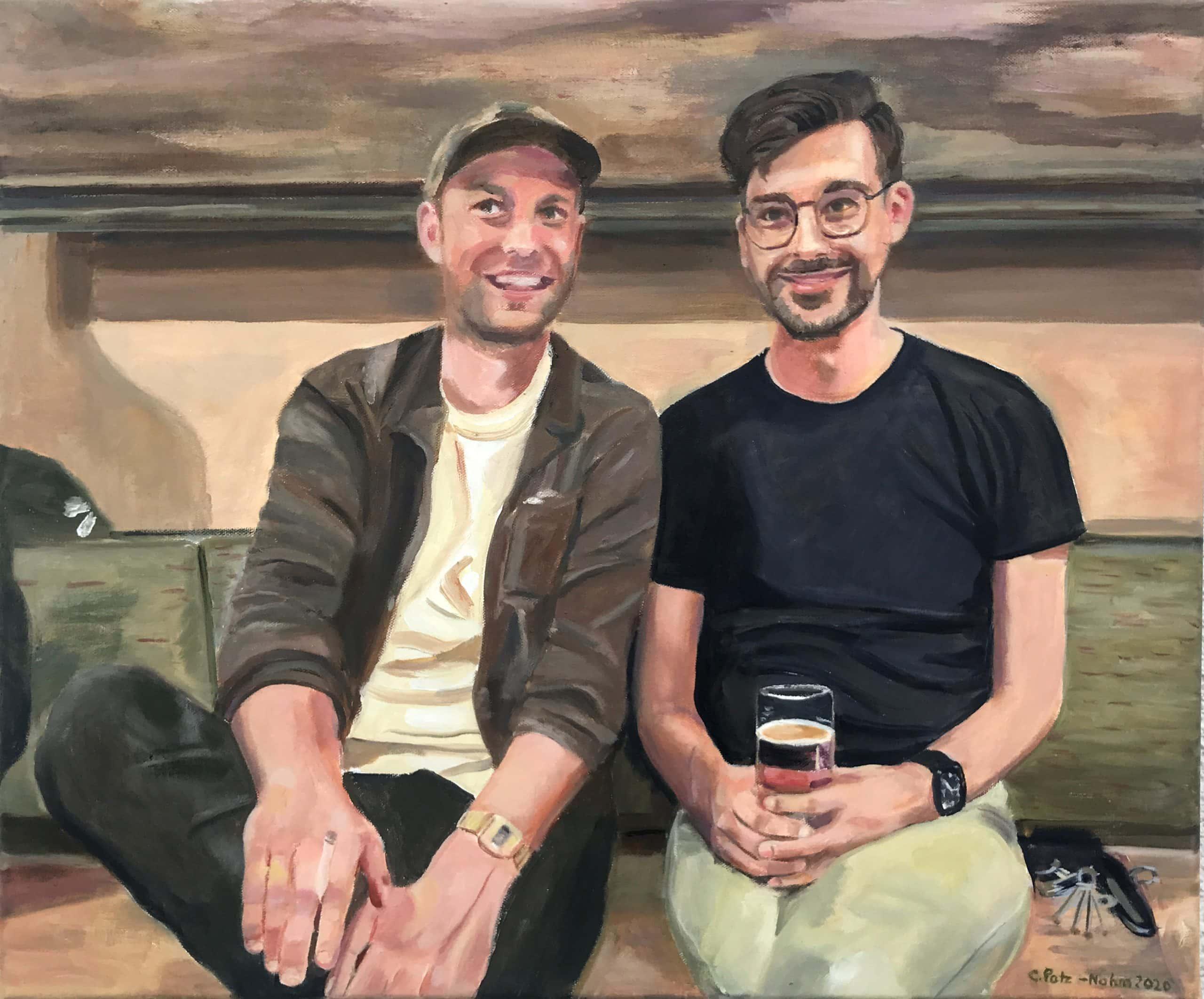 Die Brüder, 50x60cm, 2020, Ölmalerei